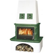 Kachlová kamna ABX Laponie zelená výměník 10,5kW